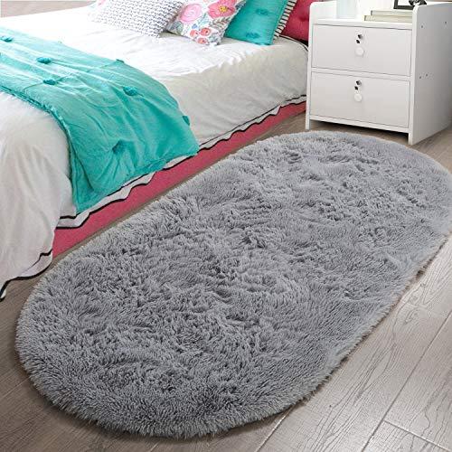 LOCHAS Luxury Velvet Fluffy Carpet Soft Children Rugs Room Mat Modern Shaggy Area Rug for Bedroom Bedside Home Decor 2.6' x 5.3', Gray
