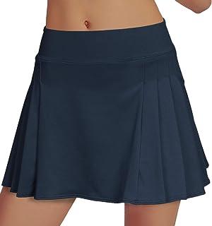 RainbowTree Women's Tennis Skirt Elastic Active Athletic Skort Lightweight Skirt Built-in Shorts for Running Tennis Golf W...