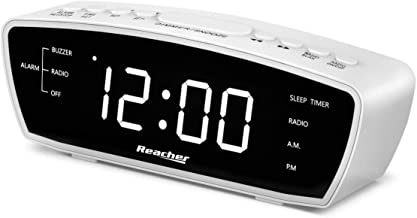 Reacher Simple Alarm Clock Radio with USB Charger Port, FM Radio, Dimmer, 6 Snoozes 9-Minute intervals, Adjustable Alarm V...