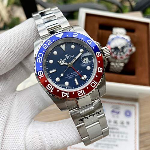 JFfactory Luxury New Men Sport GMT Lunetta in Ceramica Nera Meccanico Acciaio Inossidabile Meccanico Automatico ETA2813 Bracciale Orologio Rosso Blu Quadrante Blu