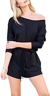 Women's Casual 3/4 Sleeve Shorts Rompers Jumpsuit with Drawstring