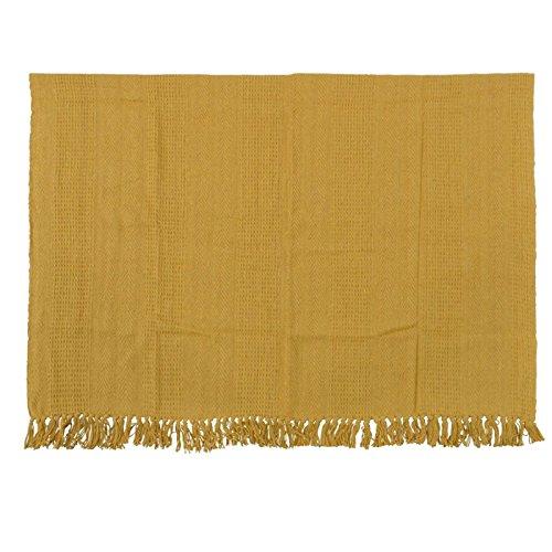 Kuscheldecke Decke Picknickdecke mit Fransen Shabby gelb beige