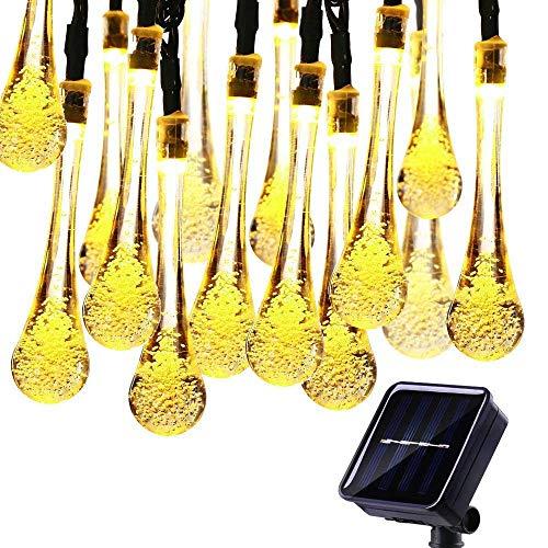 KEEDA Guirlande Lumineuses Solaire D'extérieur, 20LED Goutte d'eau,Lampe Imperméable,Luminaire Extérieur,Décoration D'extérieur (Blanc Chaud)