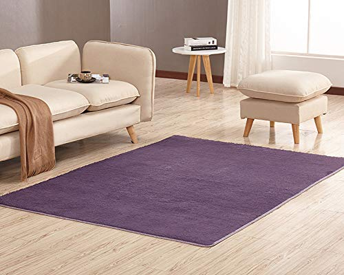 Alfombra Shaggy de Pelo Corto Sala de Estar Sofá o Dormitorio Antideslizante Alfombras Suaves Alfombra del Piso Gris Púrpura 120 x 200cm