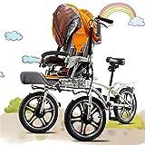 JARONOON Triciclos Dobles de los Asientos de la Madre y del bebé, Cochecito de bebé Plegable, Coche Parental, Bici del Cochecito de bebé, Bici Plegable para la Madre y el bebé