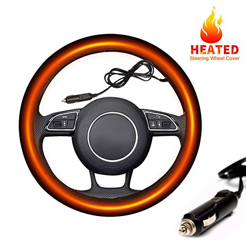 SeaHome Heated Steering Wheel Cover, 12V Auto Steering Wheel Black Protector Cover with Heater - Keep Comfortable and Warm While Driving - Universal Fit Vehicles 15 Inches