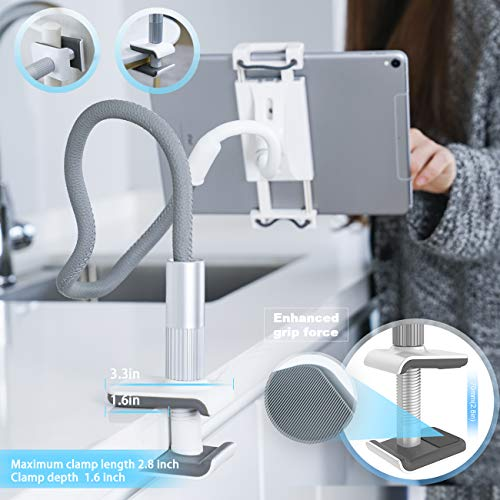 """Gooseneck Tablet Holder, Lamicall Tablet Stand: Flexible Arm Clip Tablet Mount Compatible with iPad Mini Pro Air, Switch, Galaxy Tabs, More 4.7-10.5"""" Devices - Gray"""