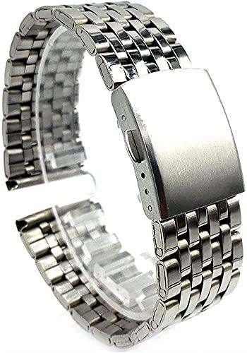 JZDH Accesorios de Reloj Reloj Correa de Plata Reloj de Plata Accesorios de Correa 20 mm 22 mm Strap de Acero Inoxidable Correa de reemplazo Pulsera Pulsera Pulsera (Color : 20mm, Size : Silver)