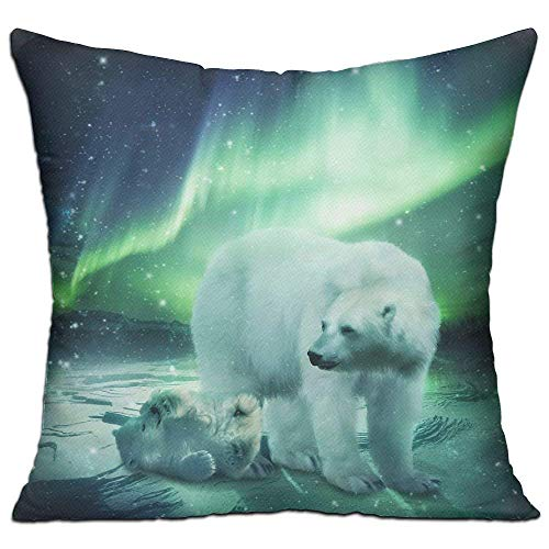 Krystal_Magic Pillowcases Square Pillow Covers - Northern Lights Polar Bear Classic Crew Cushion Case for Sofa Bedroom Car - Inserts are Not Included - 18' X 18'