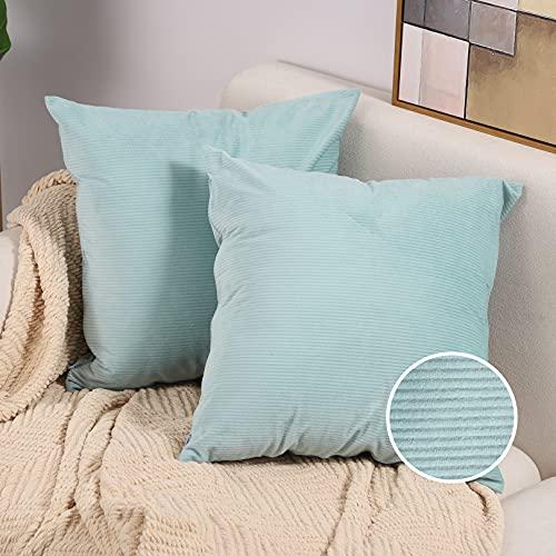 Btyrle 2 Stück solide Kissenbezüge, dekorativer gestreifter Wurf-Kissenbezug, weiche Kissenbezüge mit unsichtbarem Reißverschluss für Sofa und Couch, 40 x 40 cm