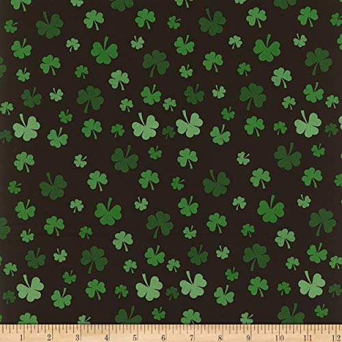 Mook Fabrics Cotton St Patrick Shamrocks Fabric, Black