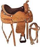 Y&Z Enterprises - Silla de montar de piel para caballos de carreras con cabecera de cuero a juego, cuello de pecho, riendas de 40,6 cm, color marrón