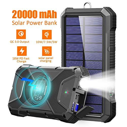 GOODaaa Powerbank Solar 20000mAh Qi Wireless Ladegerät 10W/7.5W Induktive Ladung,18W Schnelles Aufladen Power Bank mit 3 Ausgänge (Typ C & USB) LED Lampe Kompatibel für iPhone,Samsung,Huawei Handys