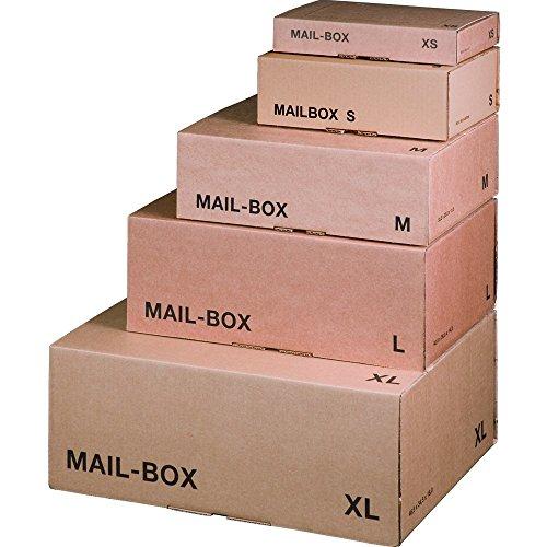 karton-billiger Mail-Box Versandschachtel, XS, S, M, L, XL in 3 Farben, 20Stück (M - 331x241x104mm, braun)