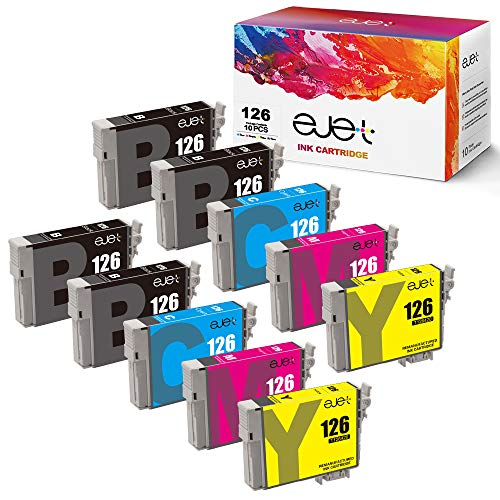 Price comparison product image ejet Remanufactured Ink Cartridge Replacement for Epson 126 T126 to use with Workforce 545 645 845 630 840 WF-3520 WF-3540 WF-7520 WF-7010 Stylus NX430 (4 Black,  2 Cyan,  2 Magenta,  2 Yellow) 10 Pack