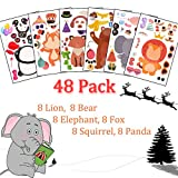 Make Your Own Stickers for Kids,48 Pack Make a Face Stickers with 6 Different Animals Mix Match Kids Party Favor Supplies Craft