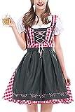 Zonsaoja Disfraces para Mujer para El Oktoberfest Alemán Mini Vestido Dirndl Bávaro Rojo 3XL