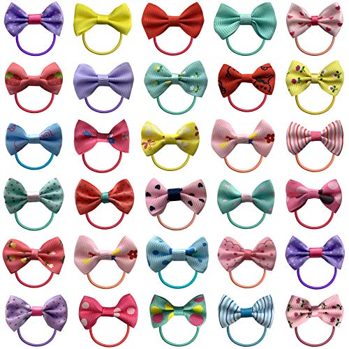 """50 Pack Cute Bow Elastic Hair Ties for Baby Girls, Non Pull Ponytail Holders Elastic Hair Bands for All kinds of Hair Types (1.57"""" in Diameter)"""
