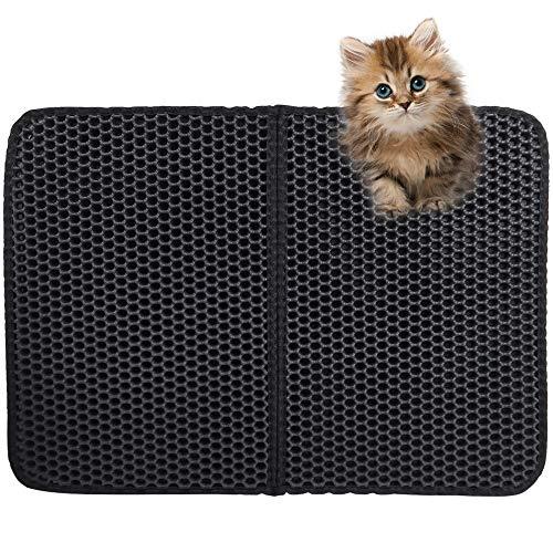 Tappetino Lettiera Gatto,Tappetino lettiera gatto pieghevole Tappeto lettiera gatto Impermeabile tappetino lettiera,Design a Doppio Strato a Nido d'Ape