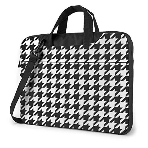 Black and White Houndstooth Laptop Shoulder Messenger Bag, Laptop Sleeve Case with Strap15.6 Inch