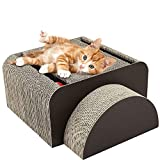 pawaboo 2-in-1 cat scratcher board, multifunctional rectangle cat scratching corrugated paper