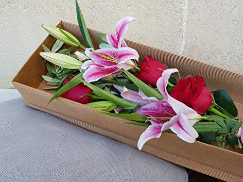 Ramo largo de flores naturales variadas ENTREGA EN 24 HORAS DE LUNES A VIERNES con dos tallos flor fresca de lilium y gerberas rosa relleno con olivo natural