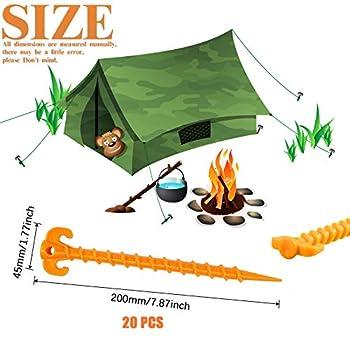 XianzhanEU Lot de 20 piquets de tente en plastique de 20 cm pour camping, bâches de pluie, randonnée, jardinage, plage, caravane, jaune