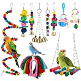 Firtink 10 stücke Papagei Spielzeug Set Bunten Vogelspielzeug für Papageien, Schaukel zum Kauen,...