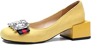 Women's Square Toe Oxford Loafers Shoes Slip-On Studded Retro Suede Low Block Heel Dress Oxfords Black