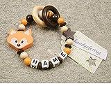 Baby Greifling Beißring geschlossen mit Namen - individuelles Holz Lernspielzeug als Geschenk zur Geburt Taufe - Mädchen Jungen Motiv Fuchs in orange