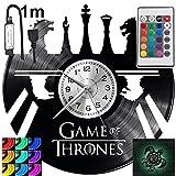 Game of Thrones RGB LED Pilot Reloj de pared para mando a distancia, disco de vinilo moderno decorativo para regalo de cumpleaños