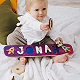 Space Theme Personalized Wood Name Puzzle With Pegs & Custom...