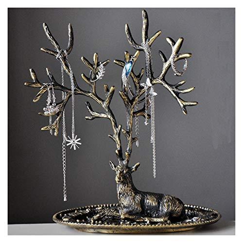 joyero Cajas para Soporte de exhibición de la joyería de la asta Ornamentos creativos Retro Collar de la casa Pendientes Joyería Soporte Organizador Caja de almacenamiento de joyas ( Color : Bronze )