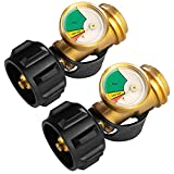 DOZYANT Propane Tank Gauge Level Indicator Leak Detector for 5lb-40lb Propane Tanks (2 Pack), Universal for BBQ Gas Grill, Cylinder, RV Camper, and More Appliances, Type 1 Connection