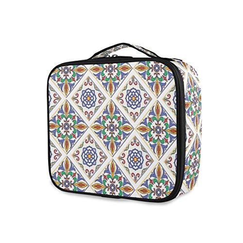 SUGARHE Geometrische Azulejo Fliese Kunstdruck,Kosmetik Reise Kulturbeutel Täschchen mit Reißverschluss
