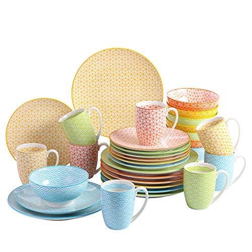 vancasso, série Natsuki, Service de Table 32 pièces en Porcelaine, pour 8 Personnes, Style Japonais, Tasse, Assiette Plate, Assiette à Dessert, Bol Céréal