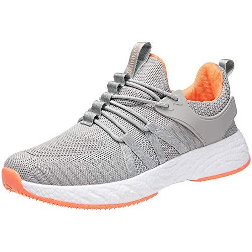 Zapatillas deportivas deportivas para hombre y mujer, para correr, tenis, gimnasio, deportes al aire libre, caminar, correr, ligeras, antideslizantes, color gris, talla 4