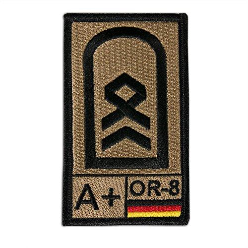 Onuris Bundeswehr Dienstgrad Rangabzeichen Aufnäher Patch m. Blutgruppe u. NATO-Rangcode (Stabsfeldwebel A+)