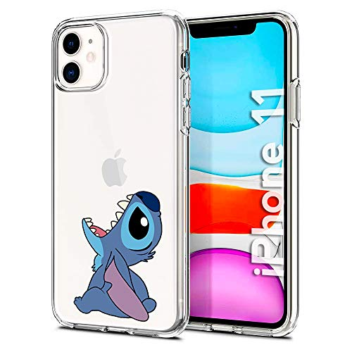 Litech Cute Stitch Case [Flexfit] Protective Clear Funny Cartoon Creative Artistic Case for Apple iPhone 11 (2019)