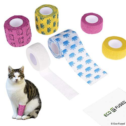 Selbsthaftende Bandage - Sportverletzung Wickel Tape für Katzen - 6er Packung - Unterstützt Muskeln und Gelenke - Einfach anzuwenden und zu reißen - Haftet Nicht am Haar - Elastisch, wasserabweisend