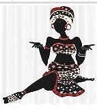 gwegvhvg Mujer Africana deDama Local Indígena Vestido con étnico Gesto Silueta con Carbón bermellón