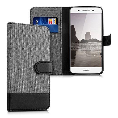 Huawei GR3 / P8 Lite SMART Hülle - Kunstleder Wallet Case für Huawei GR3 / P8 Lite SMART mit Kartenfächern und Stand - Grau Schwarz