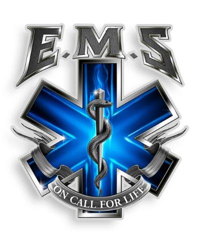 Erazor Bits EMS/EMT Aufkleber, Show Ihr Stolz mit Unseren on Call für die Life EMS Patriotische Aufkleber, Perfekt für Ihre Küche, Auto, Wand Oder Fahrrad, Geschenke für EMS/EMT 4IN Schwarz