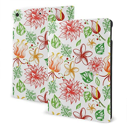 Owl, Wolf and Deer in The Style of Tattoo Case for New IPad 7th Generation 10.2 Inch 2019 Multi-Angle Viewing Folio Smart Stand Cover Auto Wake/Sleep for IPad 10.2' Tablet-Painted Tropical Flowers-On