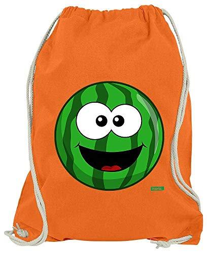 HARIZ Turnbeutel Melone Lachend Früchte Sommer Inkl. Geschenk Karte Orange One Size