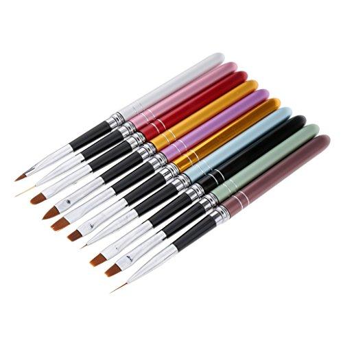 SM SunniMix 10pcs Nail Art Design Brosses Set Gel Dessin Peinture Parsemant Brosse Polonaise