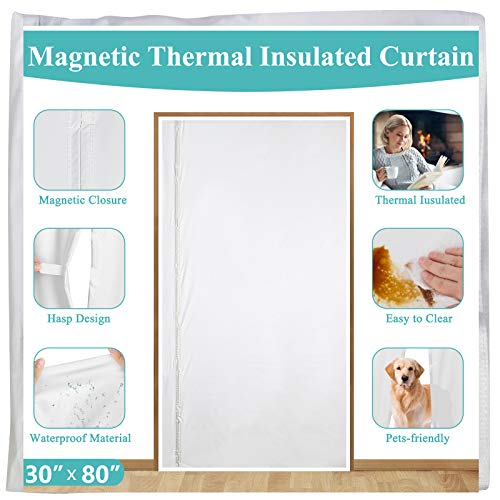 Magnetic Thermal Insulated Door Curtain 30 x 80,Left Right Side Opening White Plastic TPU Screen Door Cover with Magnets for Stairway,Front, Kitchen, Ac Room,Warm Winter,Cool Summer