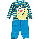 Canción Infantil Niños Cute Monster Face algodón Pijama Azul Stripe