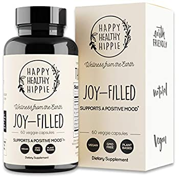 Joy-Filled | 100% Plant-Based Supplement for Anxiety & Depression Relief | Helps Relax The Mind Boosts Mood Relieve Stress | Contains 7 Powerful Herbs Non-GMO 60 Vegan Capsules