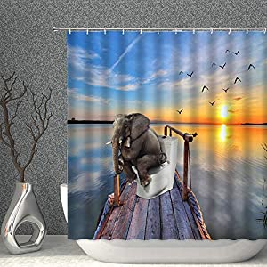 AMNYSF Elephant Shower Curtain Funny Elephant on Toilet Tropical Ocean Sunset Scenic Decor Fabric Polyester Bathroom Curtains with Hooks 70x70 Inch
